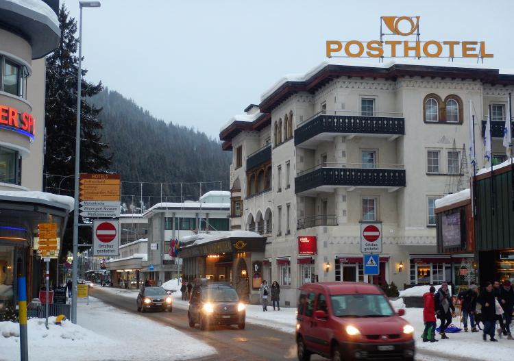 Davos is a modern bustling town.