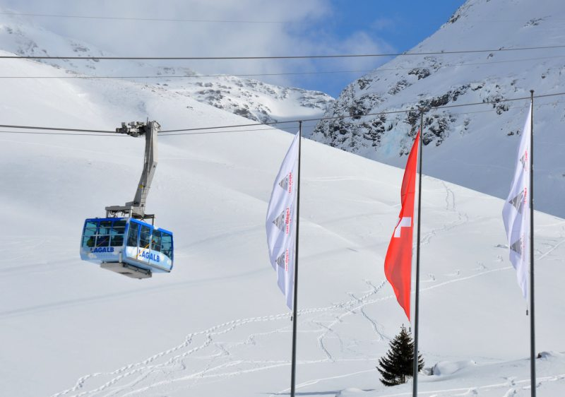 The cable car at Lagalb is the mountain's only uphill transport.