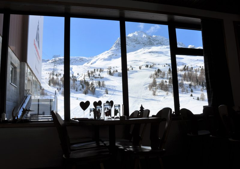 Cafe view at Diavolezza ski resort.