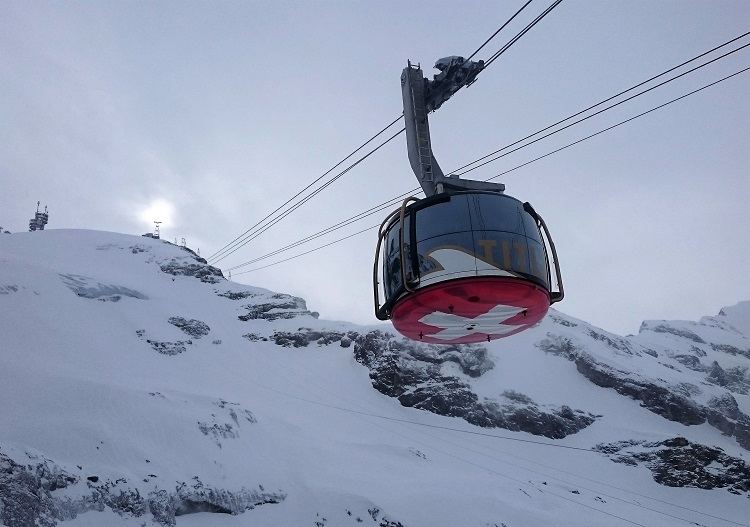 The Titlis Rotair cable car ascends 600m vertical to Engelberg's 3028m top.