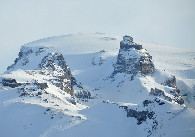Summit of Titlis (3239m) at Engelberg is heavily glaciated.