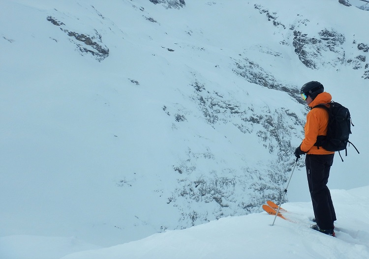 Surveying the vast and challenging freeride terrain at Engelberg.