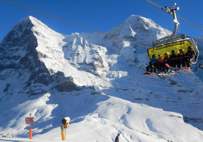 Grindelwald Wengen Switzerland is a Jungfrau ski resort under the looming Eiger