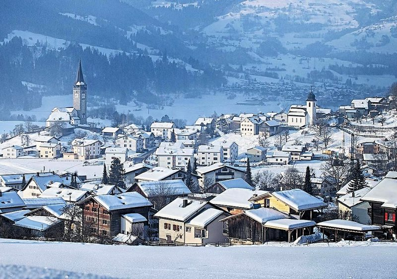 The village of Laax, only 2km from the ski resorts lifts.