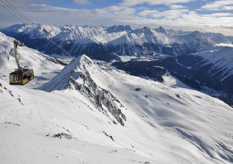 Sensational St Moritz ski resort. Piz Nair at Corviglia (3057m).