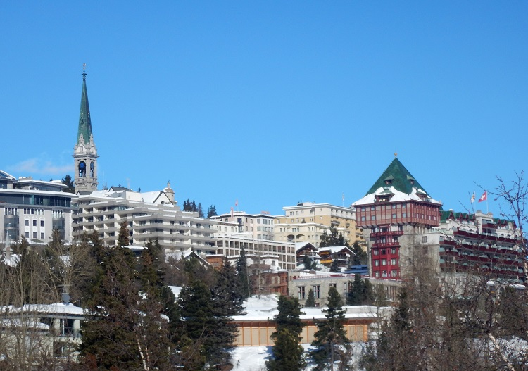 Modern St Moritz village dominated by the 5 star Badrutt's Palace Hotel.