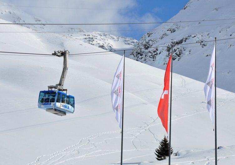 The Lagalb cable car, St Moritz's 4th mountain, part of the Diavolezza ski area.