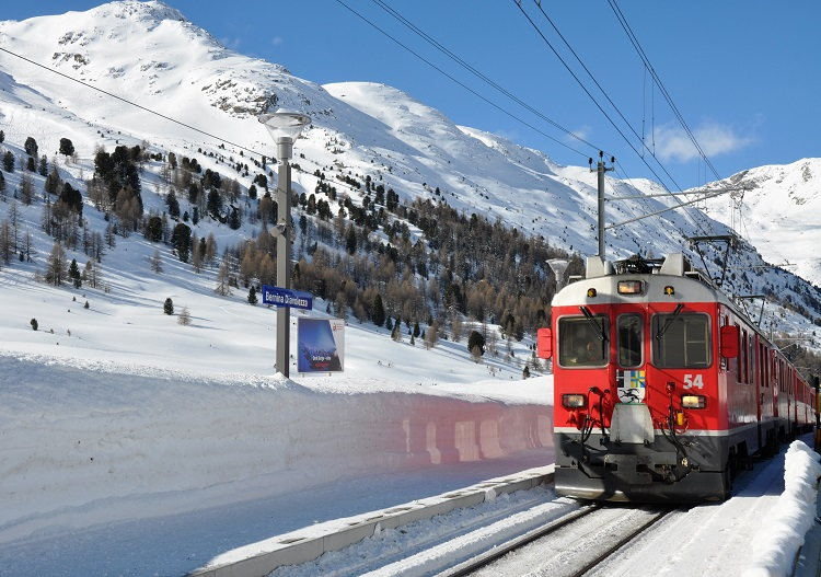 The Bernina railway links St Moritz to Diavolezza and Tirano in Italy.