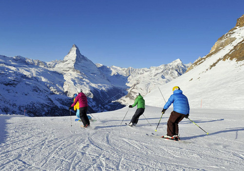 Zermatt ski resort has an abundance of intermediate piste terrain.