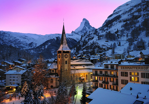 The charming old town of Zermatt Switzerland.