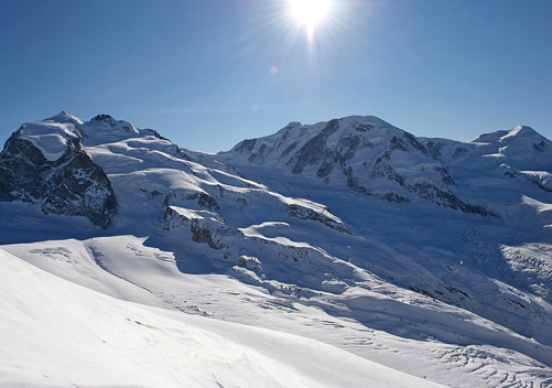 The upper reaches of the ski area are heavily glaciated.