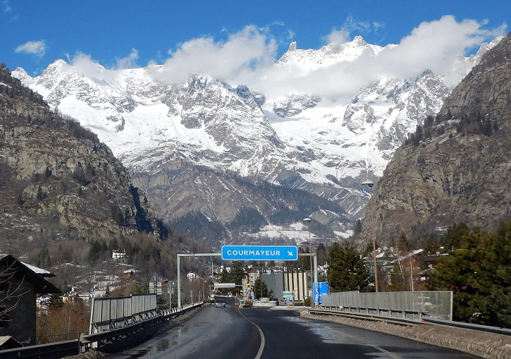 The drive to Courmayeur Italy ends in absolute splendour.