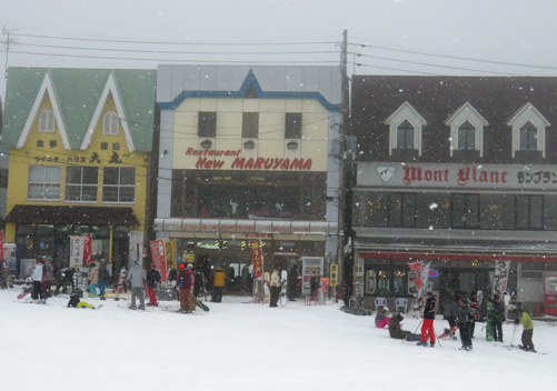 The slopes are lined with lots of restaurants