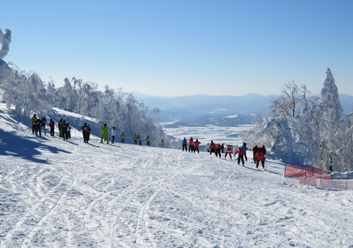 School groups often spread out across the groomed runs