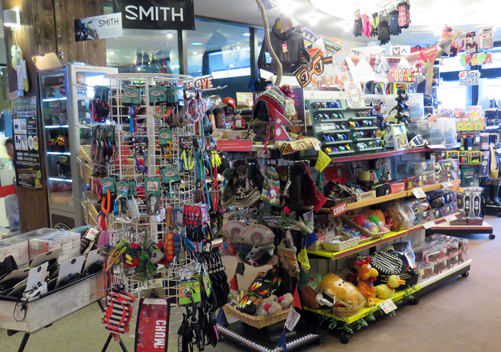 The retail shop sells basic ski and snowboard accessories