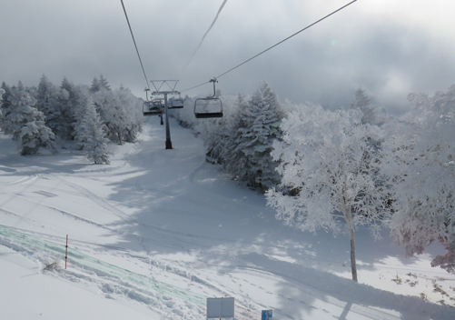 The upper part of the ski area has superb snow