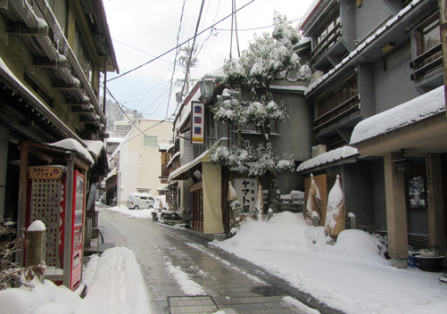 The narrow streets are lined with ryokan