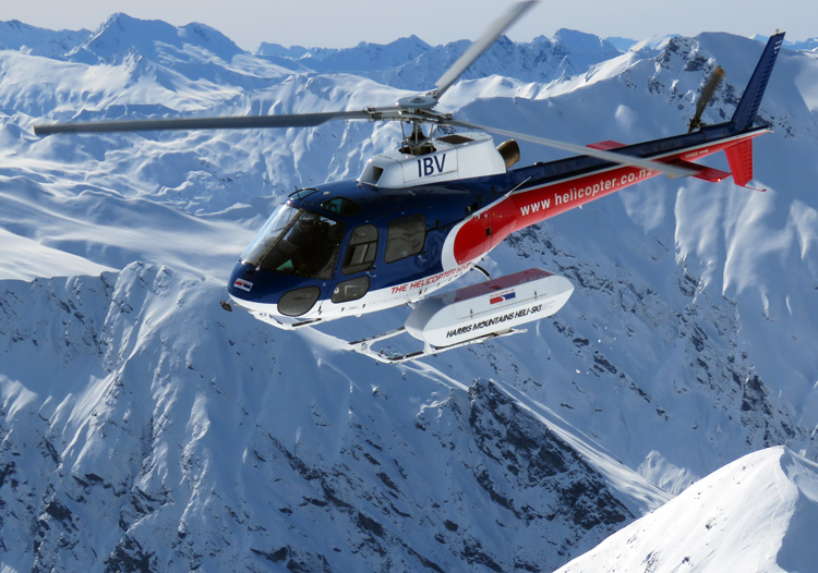 Harris Mountains Heliski use small helicopters with groups of 4 to 5 guests per load