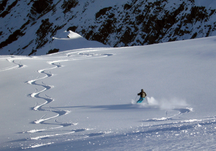 The feeling of skiing untracked powder is like floating on air