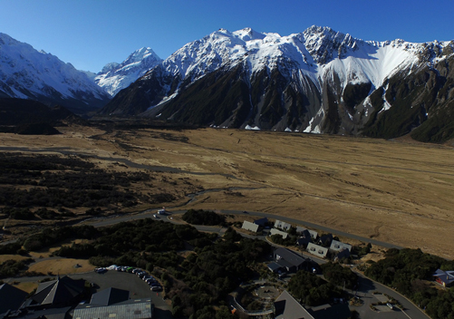 Mt Cook Village: the upper parts provide views of Aoraki