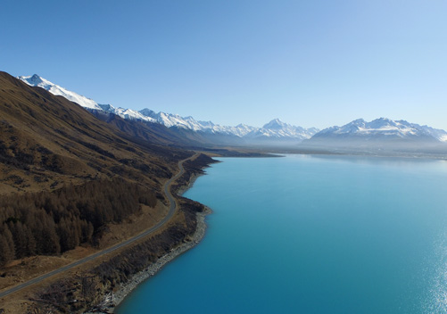 The road to Mt Cook Village travels alongside Lake Pukaki