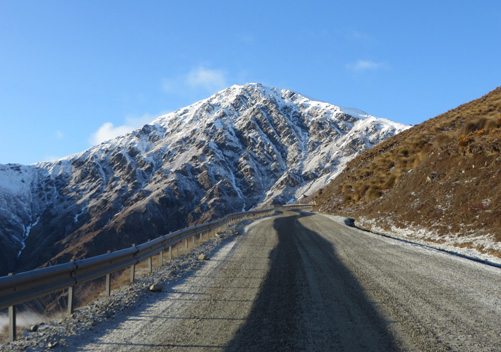 The road up to the Remarkables ski field