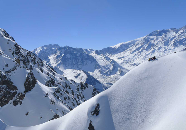 Powder South Heliski Guides - a great ridge entry