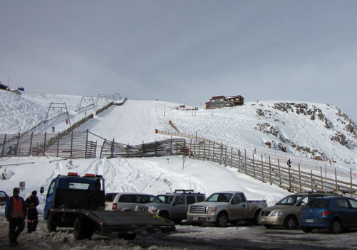 Looking up to the Farellones ski resort