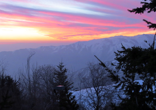 The famous Santiago sunset from Powder Lodge