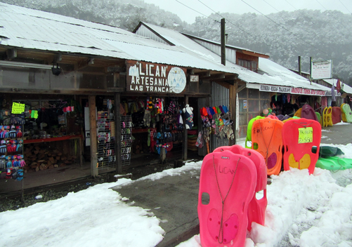 Market stalls selling cheap snow gear