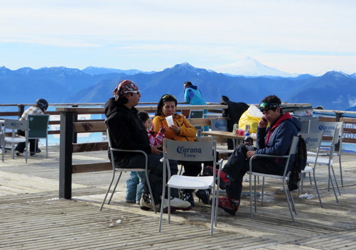 The views from the deck at the Pucon ski resort are fantastic