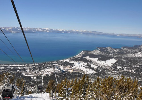 The panoramic beauty of a Lake Tahoe ski resort